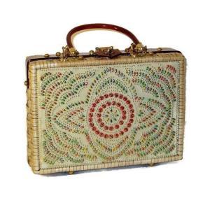 wicker beaded purse